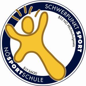 Logo der NÖ Sportschule mit Schwerpunkt Sport, ist ein gelbes Männchen in einem blauen Kreis